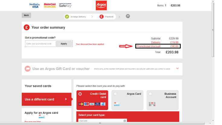 Argos discount coupon