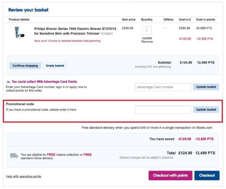 Boots Discount Code redeemption
