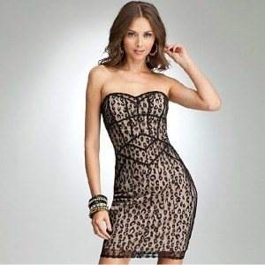 1 Leopard Print Animal Print Mesh Bustier Dress DL019