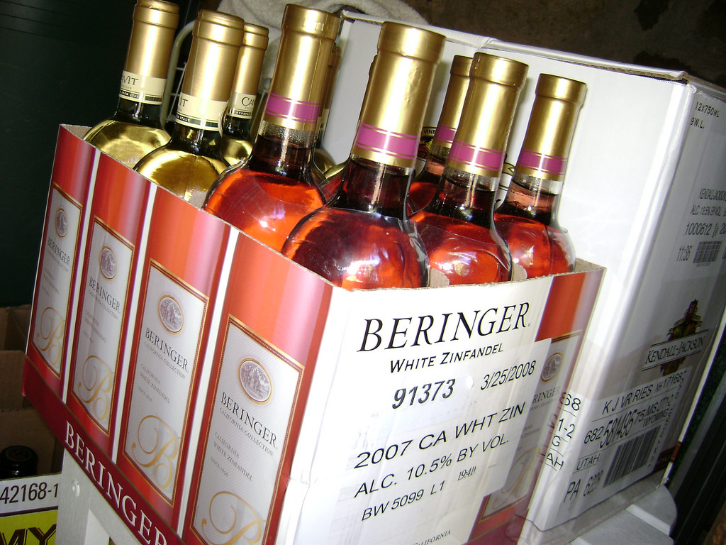 Chocolate Dipped Beringer White Zinfandel Wine